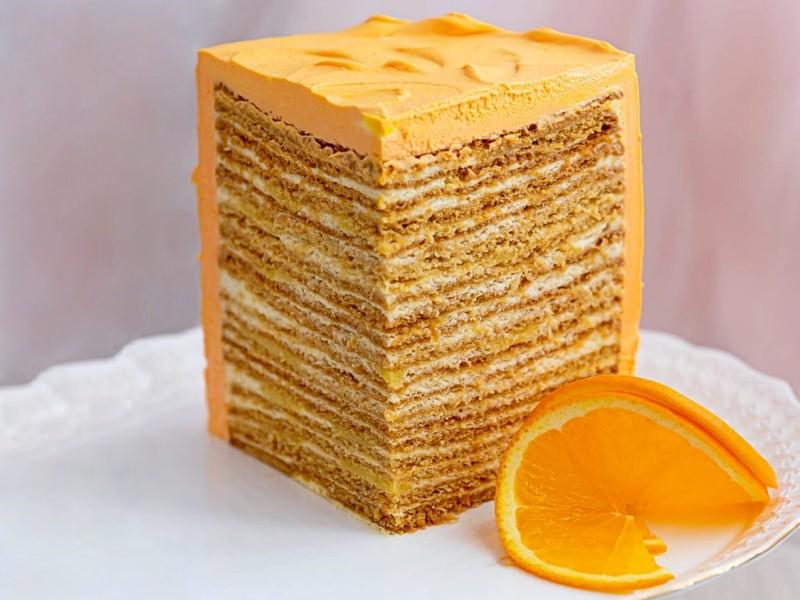 Торт Медовик с апельсиновым курдом