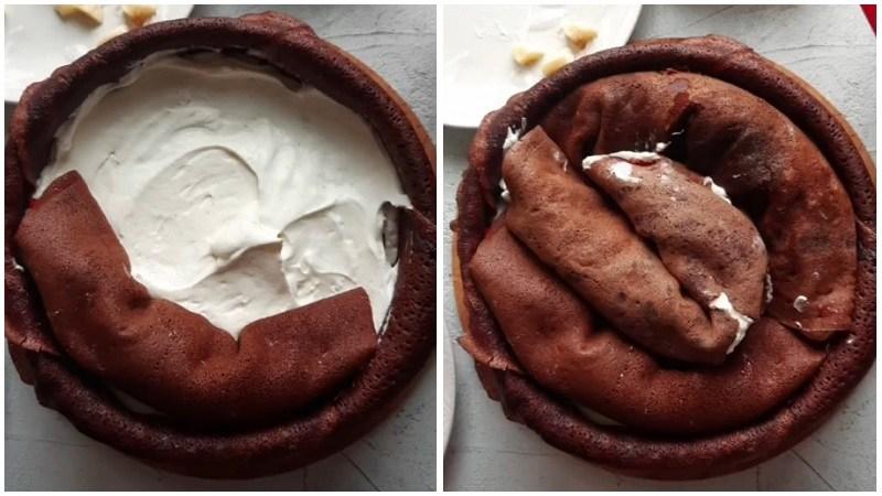 шоколадный блинный торт рецепт пошагово с фото