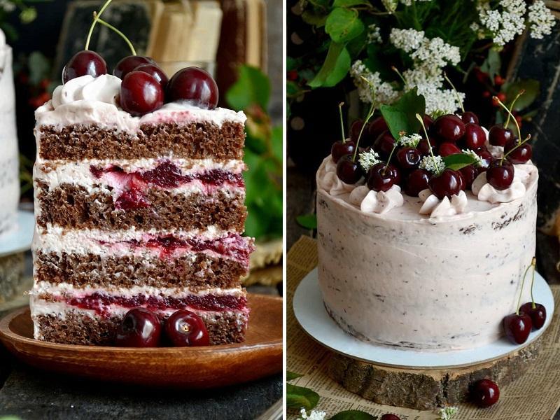 Шоколадный торт с вишней и кремом чиз рецепт