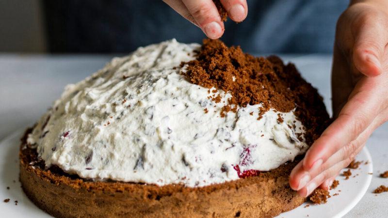 Сборка торта Норка крота: обсыпаем бисквитной крошкой
