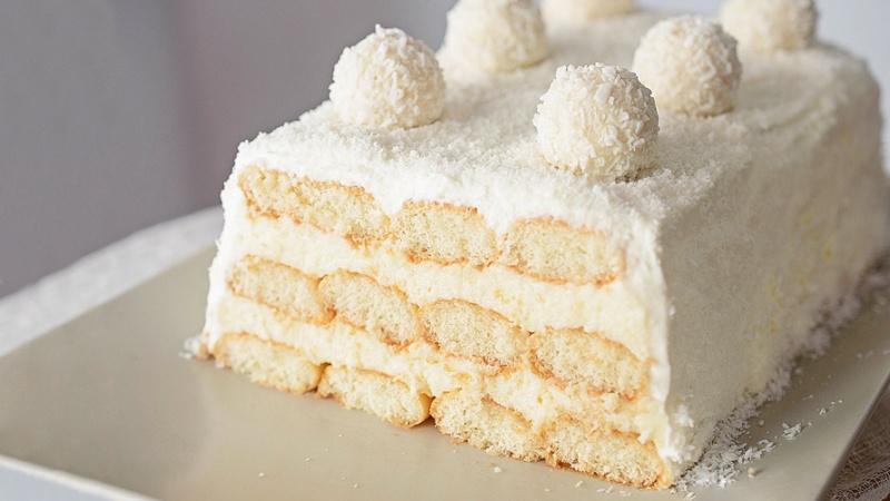 Торт Рафаэлло без выпечки из печенья рецепт