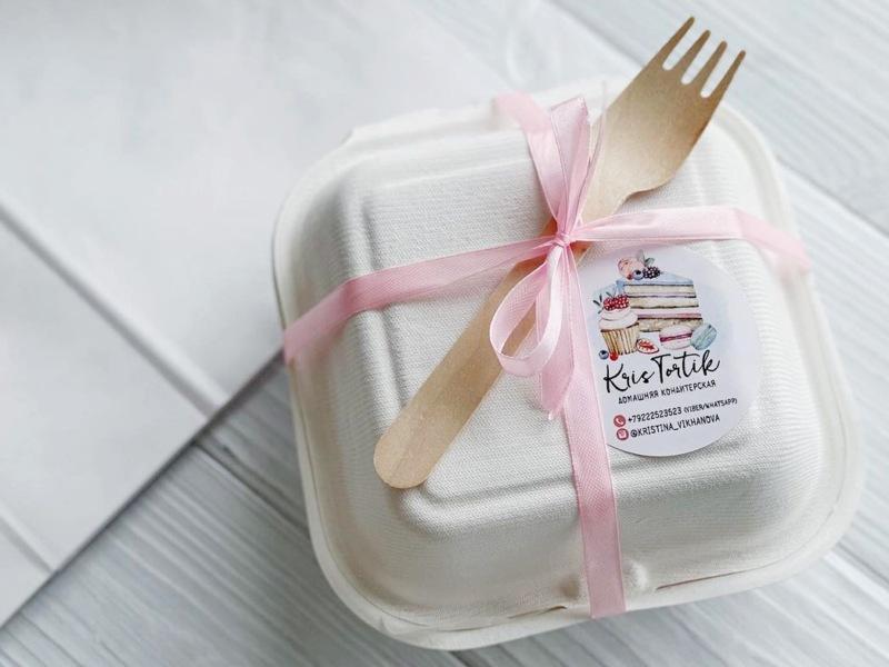 Упаковка для бенто торта - коробка (ланч бокс) с ложкой / вилкой