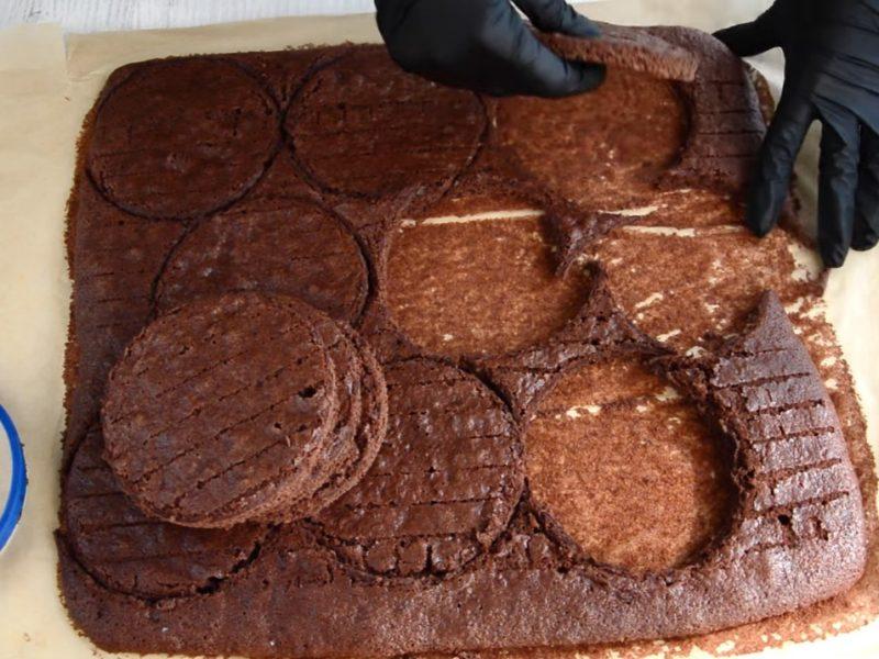 Шоколадный бисквит Черный ле для бенто торта