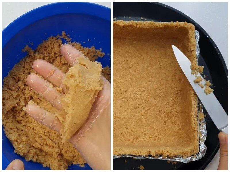 Формирование основания чизкейка с выпечкой и мусса с клубникой