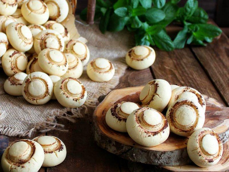 Рецепт песочного печенья Шампиньоны