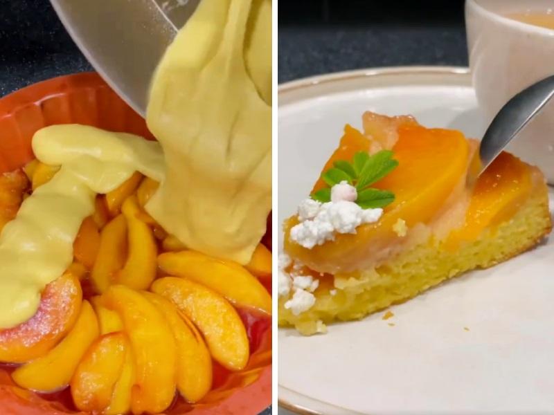 Пирог с фруктами наоборот