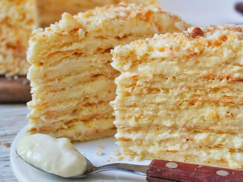 Самый вкусный торт Наполеон рецепт на сметане с заварным кремом