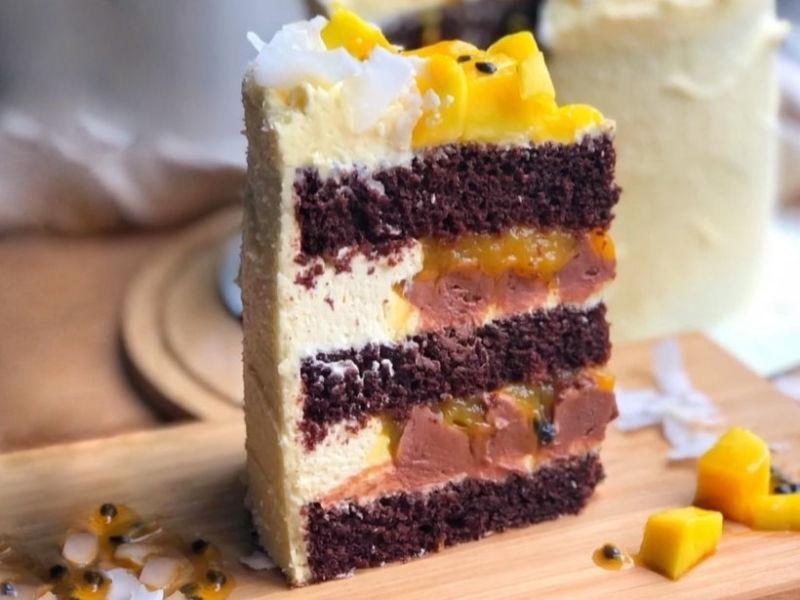 Тропический торт Шоколадный манго маракуйя кокос