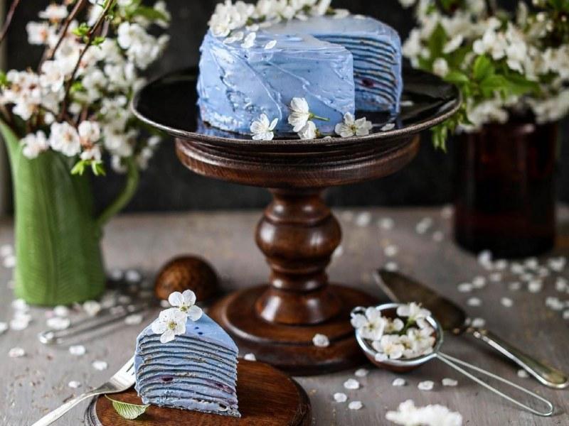 Голубой торт с матчей рецепт