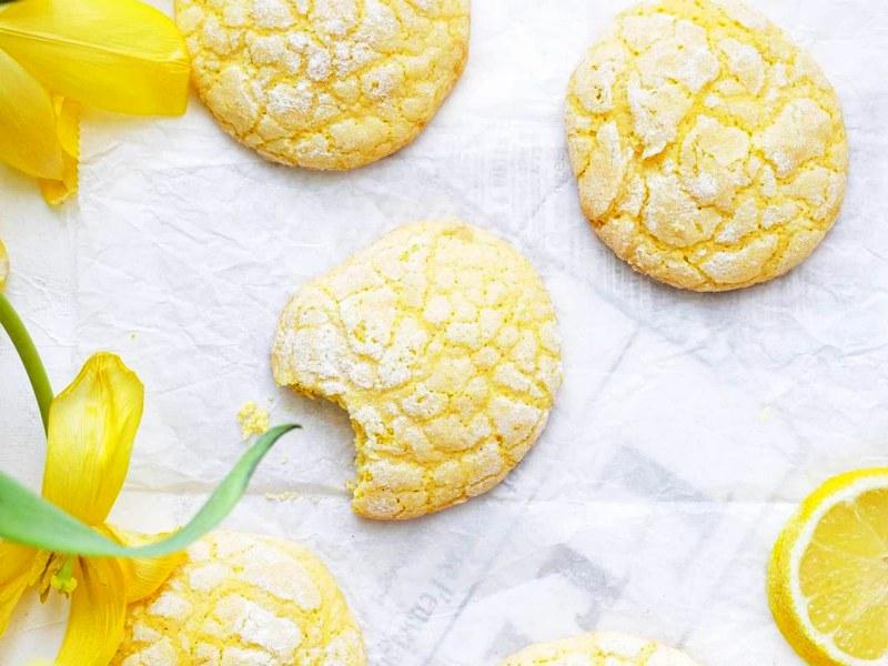 Лимонное печенье с трещинками и цедрой лимона домашнее песочное