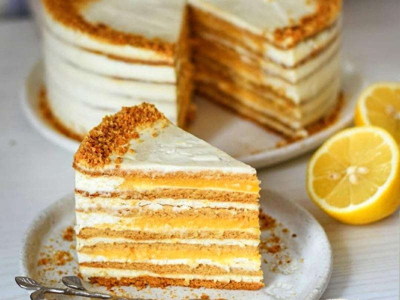 Торт Медовик 🍋 с лимонным курдом