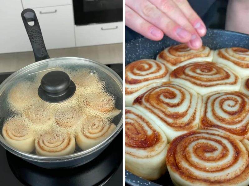 Булочки Синнабоны на сковороде