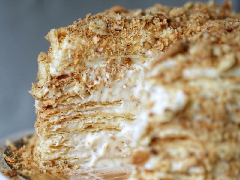 Торт Наполеон с Ванильным кремом Пломбир рецепт