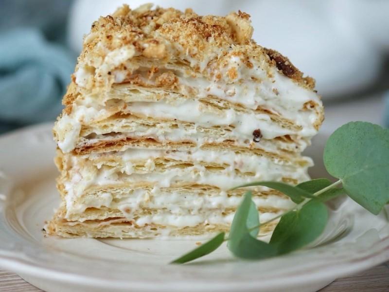 Торт Наполеон с Ванильным кремом Пломбир рецепт в домашних условиях