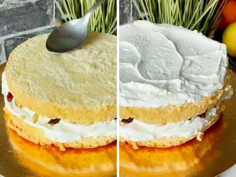 Простой бисквитный торт с кремом рецепт