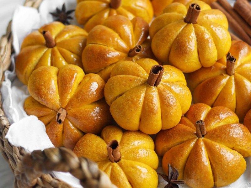 Булочки из тыквы 🧡 рецепт в виде тыковки