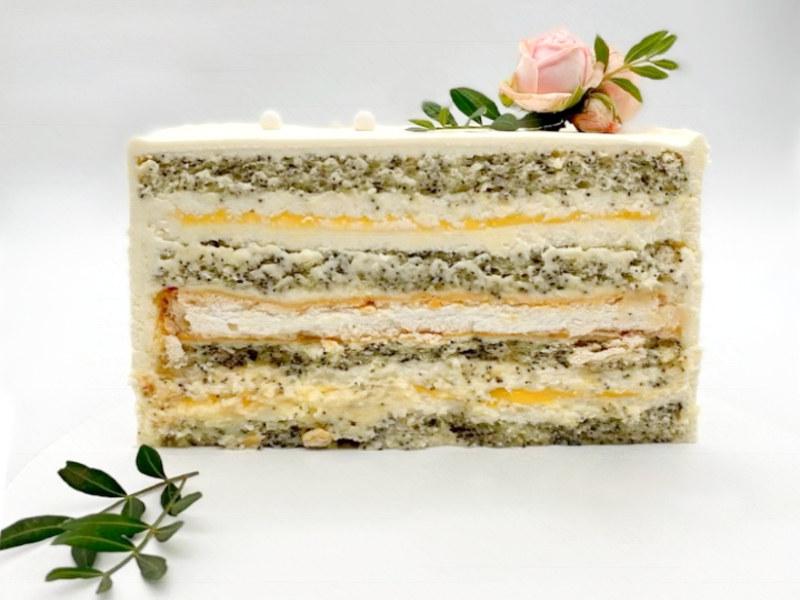 Маковый торт с лимонным курдом и безе