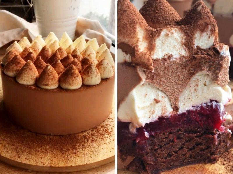торт с шоколадным муссом и вишней