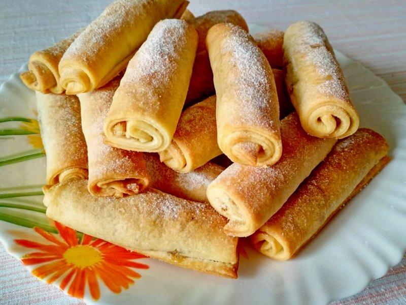 рецепт ореховых трубочек на сметане