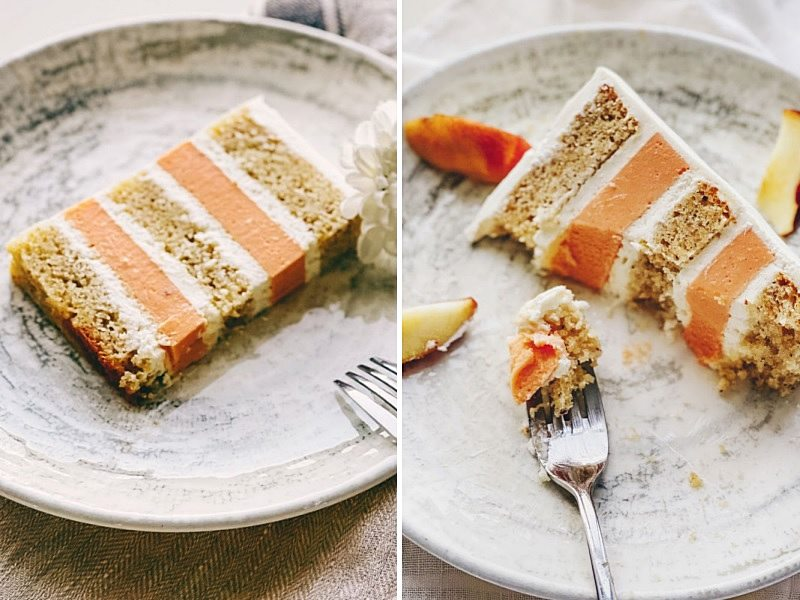 персиковый бисквитный торт