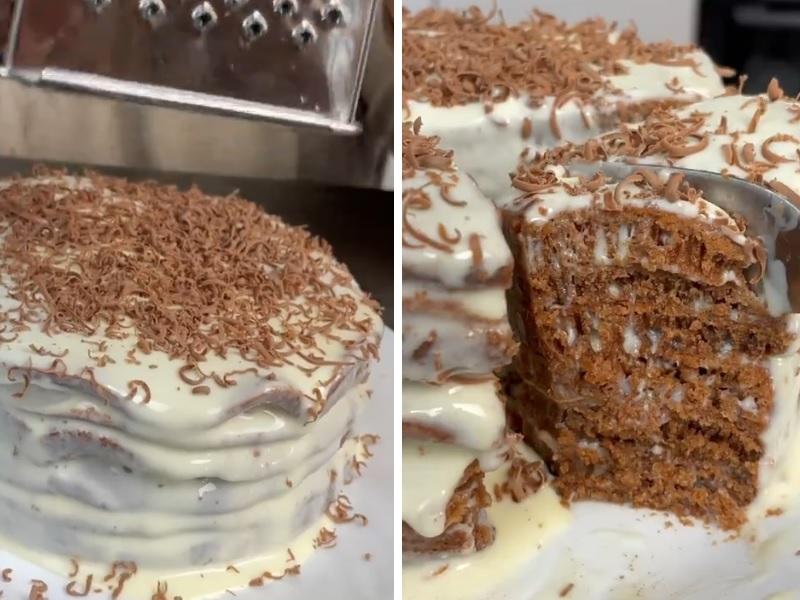 торт на сковороде со сметаной и сгущенкой